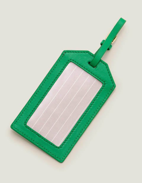 Leather Luggage Tag - Navy/Rich Emerald