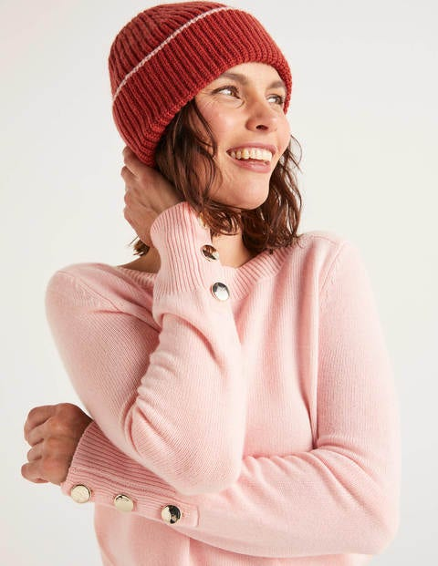 Ribbed Beanie - Conker/Chalky Pink