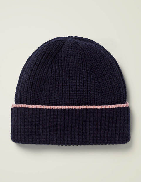 Ribbed Beanie - Navy/Chalky Pink