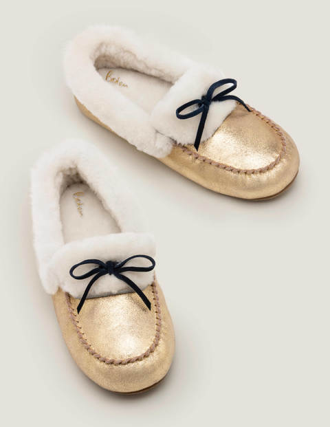 Shearling Moccasin Slippers - Gold Metallic