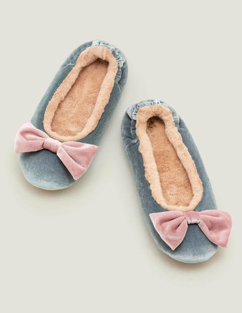 Cosy Velvet Bow Slippers - Cloud Burst
