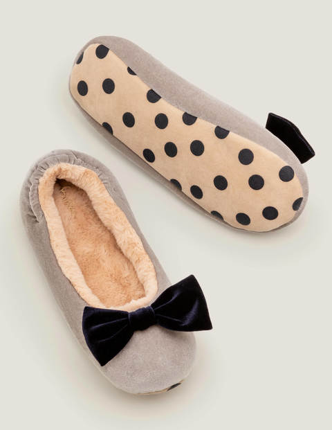 Cosy Velvet Bow Slippers - Grey