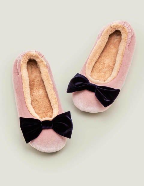 Cosy Velvet Bow Slippers