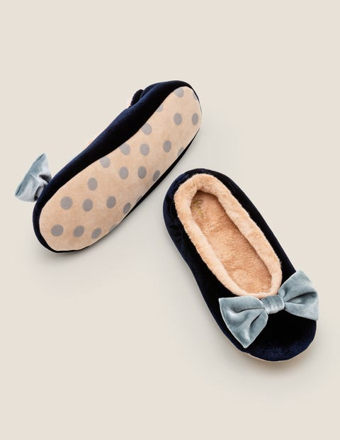 Cosy Velvet Bow Slippers - Navy