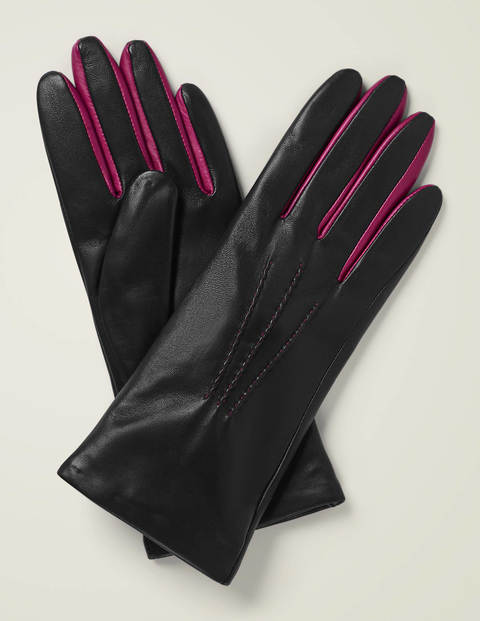 Leather Gloves - Black/Vibrant Plum