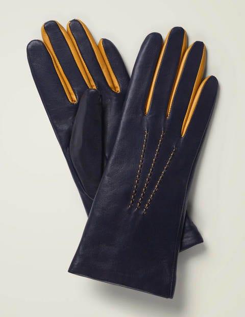 Leather Gloves - Navy/Honey Mustard