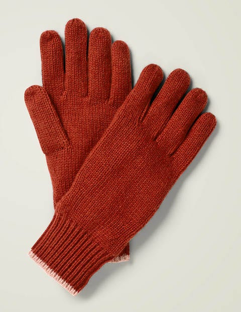 Ribbed Gloves - Conker/Chalky Pink