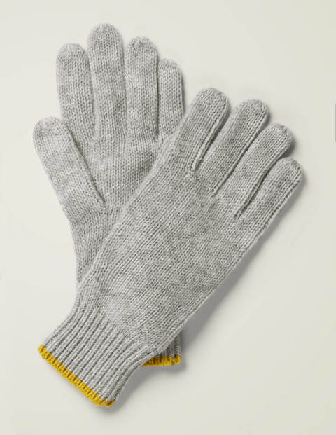 Ribbed Gloves - Grey Marl/Saffron