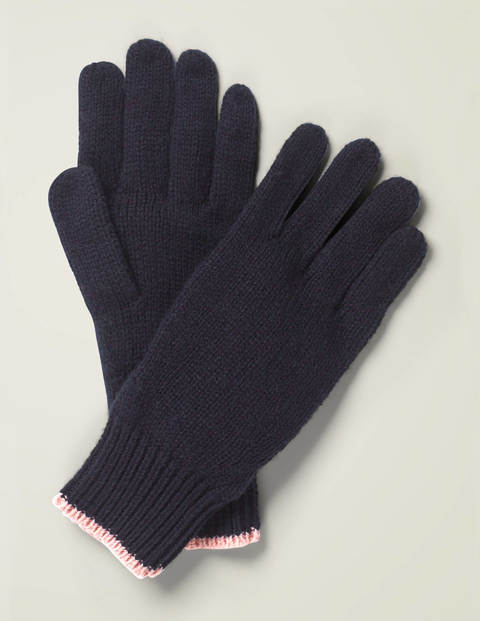 Ribbed Gloves - Navy/Chalky Pink