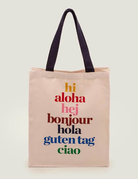 Printed Tote Bag - Hello