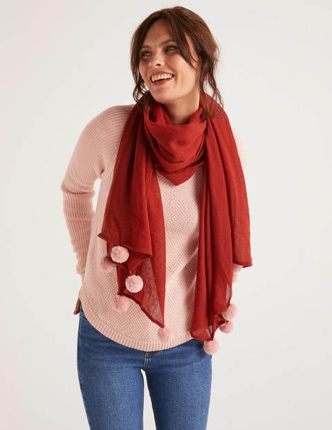 Pompom Wool Scarf - Conker/Chalky Pink