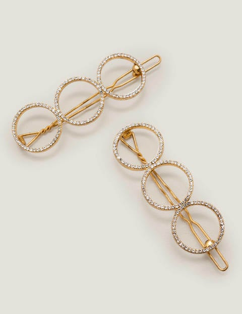 Jewelled Hair Slides - Gold Metallic