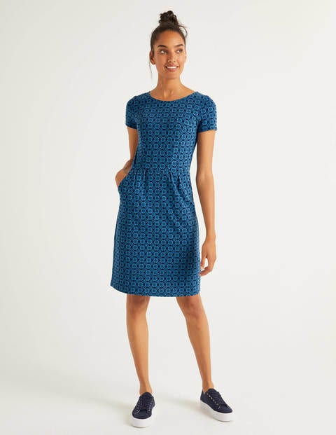 Phoebe Jersey Dress - Aegean Blue, Sun Dial