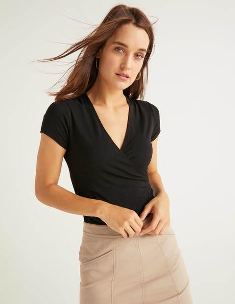 Short Sleeve Wrap Top - Black