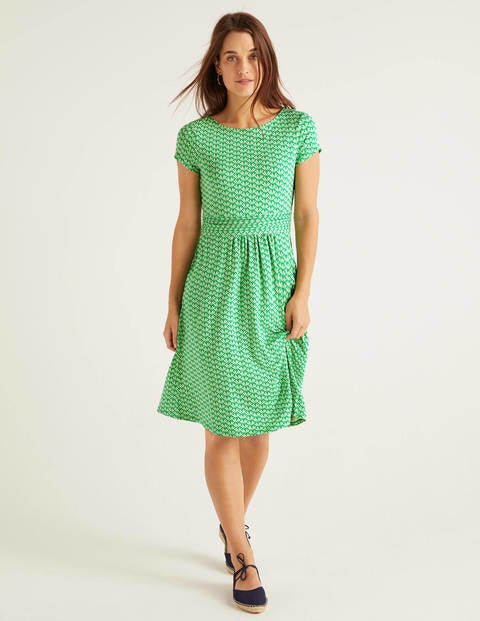 Amelie Jersey Dress - Rich Emerald, Deco Petal