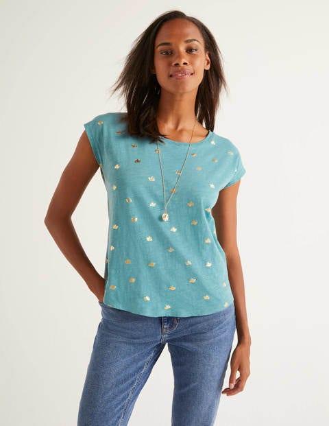 Robyn T-Shirt Aus Jersey - Mittelblau, Folien-Taube