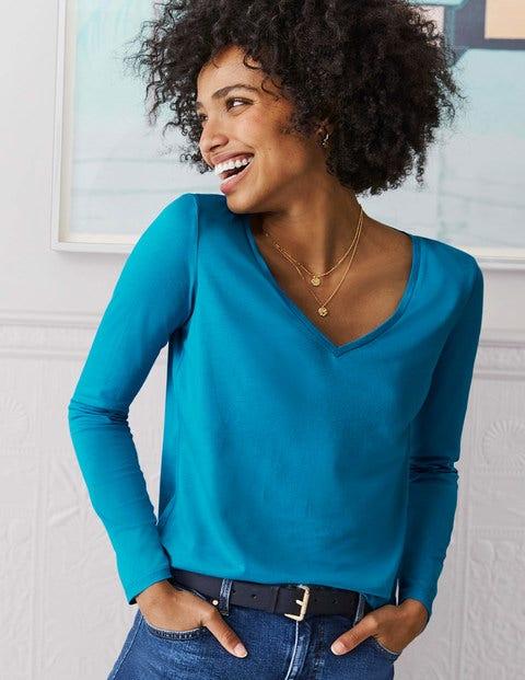 Superweiches T-Shirt Mit V-Ausschnitt - Lagunenblau