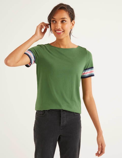 Short Sleeve Striped Cuff Tee - Broad Bean Multi