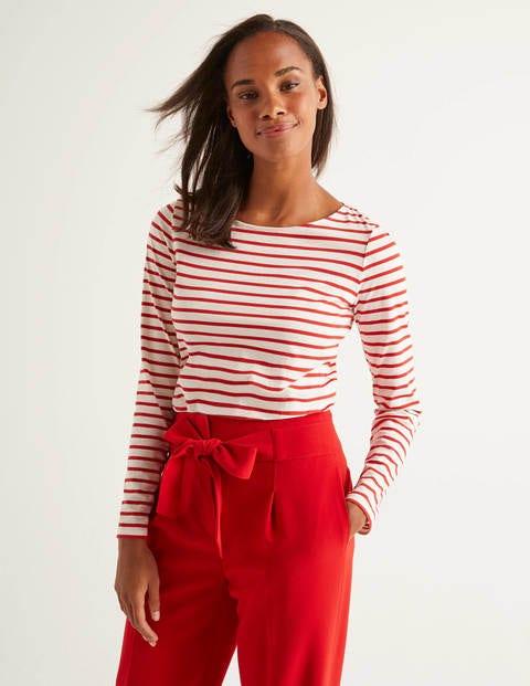 Long Sleeve Breton - Ivory/Post Box Red