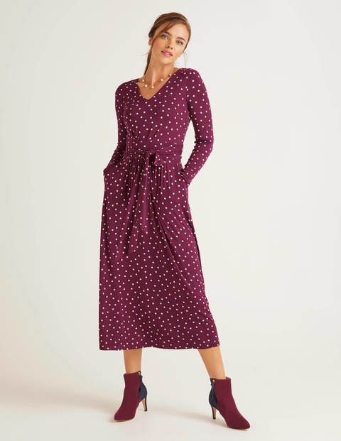 Ferne Jersey Midi Dress - Ruby Ring, Polka Spot