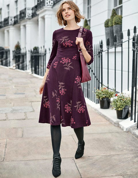 Nancy Ponte Dress - Fig Meadowsweet Large