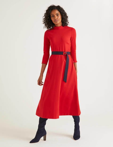 Nerissa Ponte Dress - Poinsetta/Navy