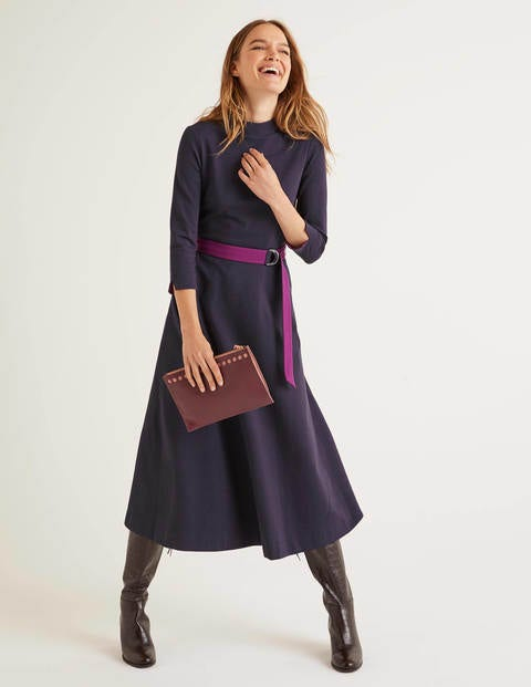 Nerissa Ponte Dress - Navy/Beetroot