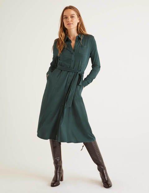 Susannah Jersey Shirt Dress - Midnight Garden