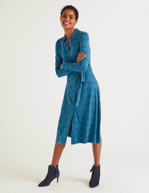 Susannah Jersey Shirt Dress - Baltic, Moondot