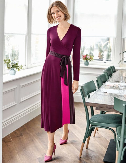Laurie Jersey Dress - Beetroot Multi