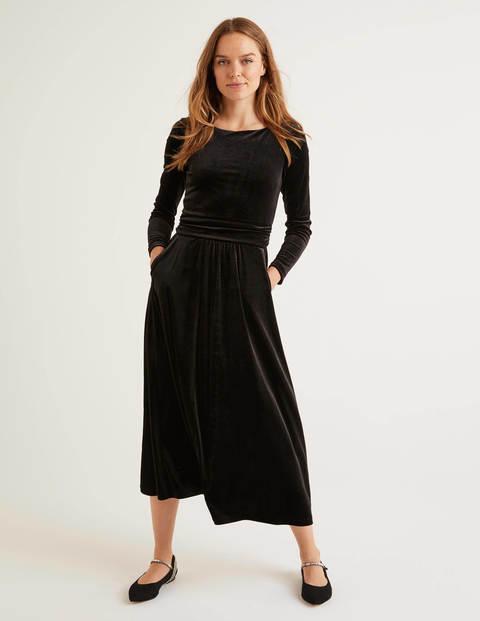 Lois Velvet Dress - Black