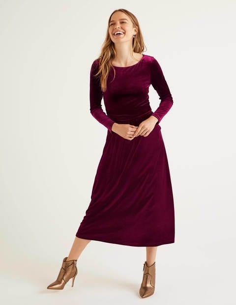 Lois Velvet Dress - Beetroot