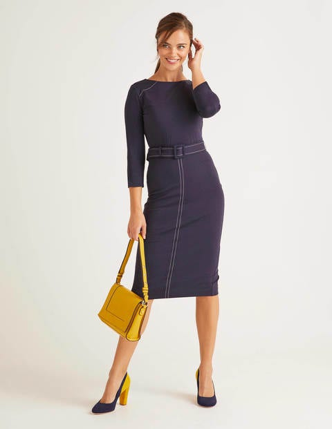 Rosalie Ponte Dress - Navy