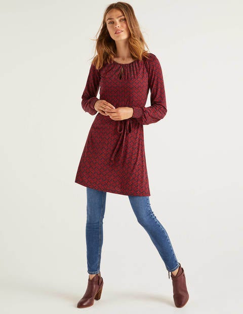 Clementine Jersey Tunic - Navy/Red, Poppyseed Bud