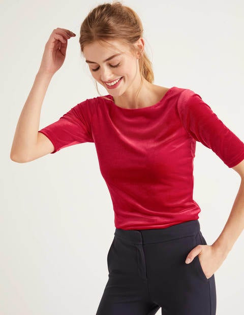 Laura Scoop Back Velvet Top - Poinsettia