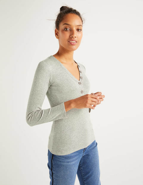Ida Jersey Top - Grey Marl