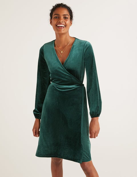 Ellie Velvet Wrap Dress - Midnight Garden