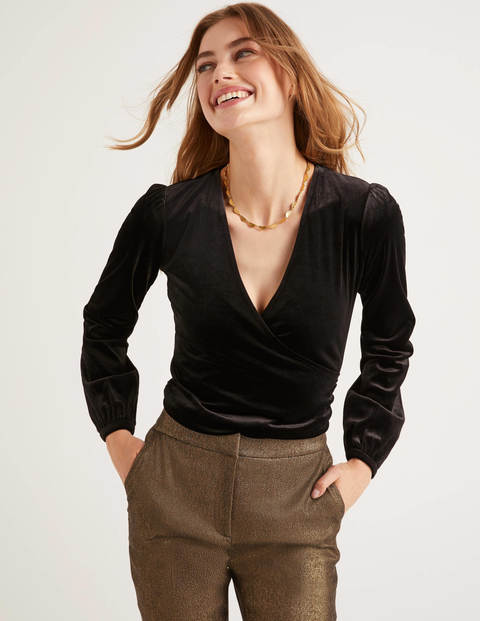 Ellie Velvet Wrap Top - Black