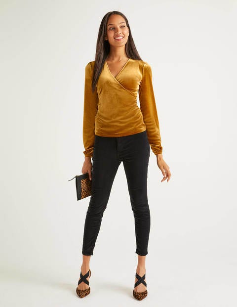 Ellie Velvet Wrap Top - Trumpet