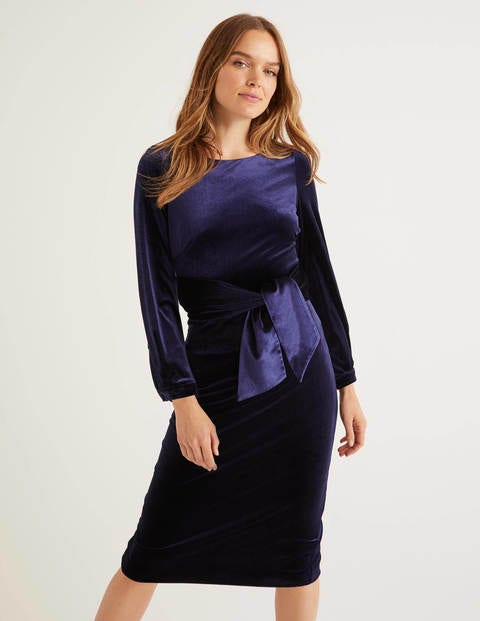 Julianna Velvet Dress - Navy
