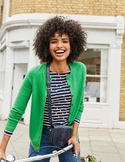 Cashmere Crew Cardigan - Bright Green