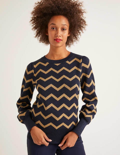 Antonia Sweater - Lurex Zig Zag