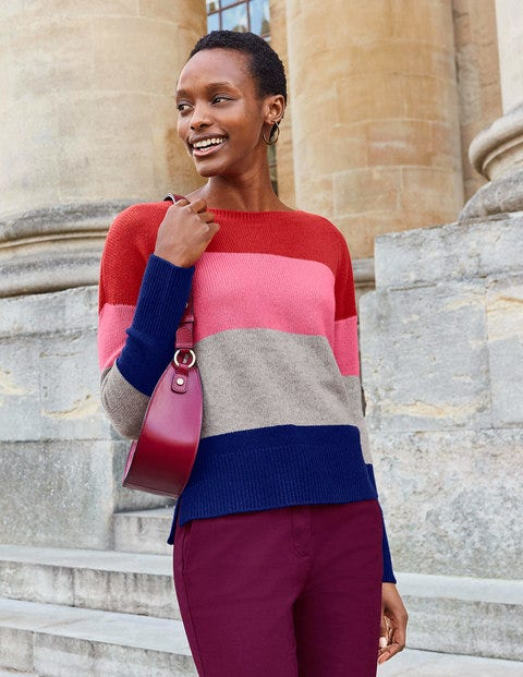 Melinda Cashmere Sweater - Postbox Red Colourblock Stripe