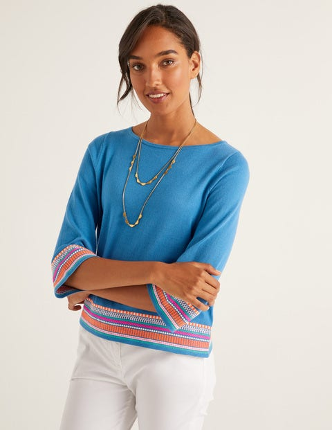 Colette Embroidered Sweater - Aegean Blue
