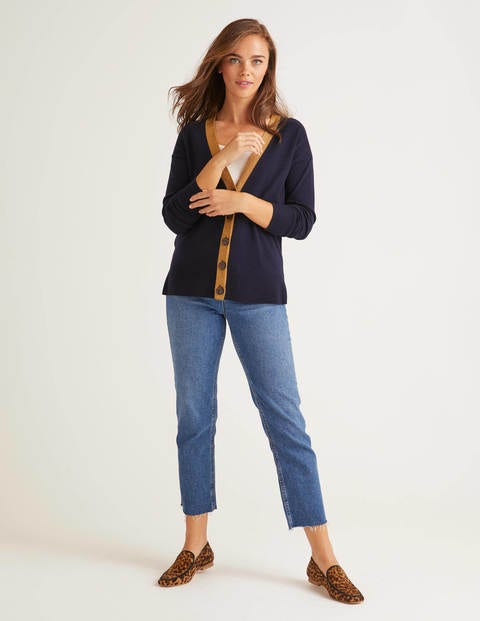 Heidi Sparkle Trim Cardigan - Navy/Gold Sparkle