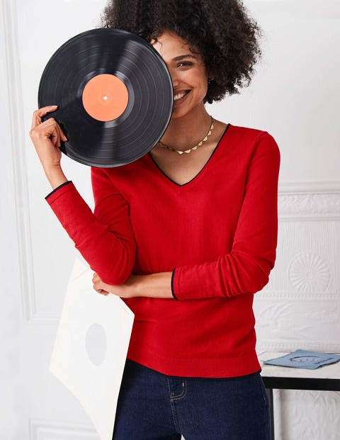 Elina V-Neck Sweater - Postbox Red/Navy Tipping