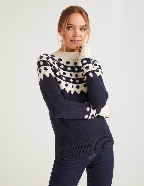 Rhea Fair Isle Sweater - Navy/Ivory