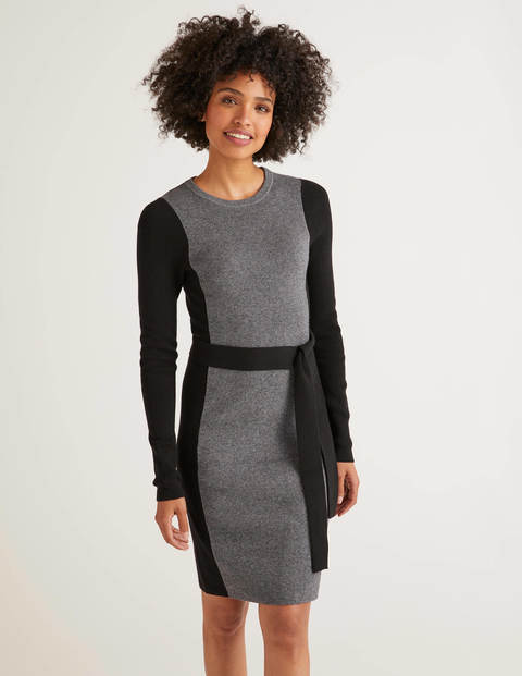 Rosa Dress - Grey Melange/Black Tipping
