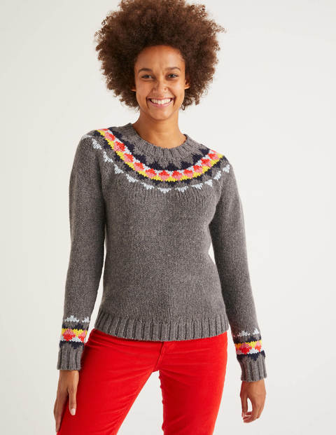 Cordelia Fair Isle Sweater - Charcoal Melange