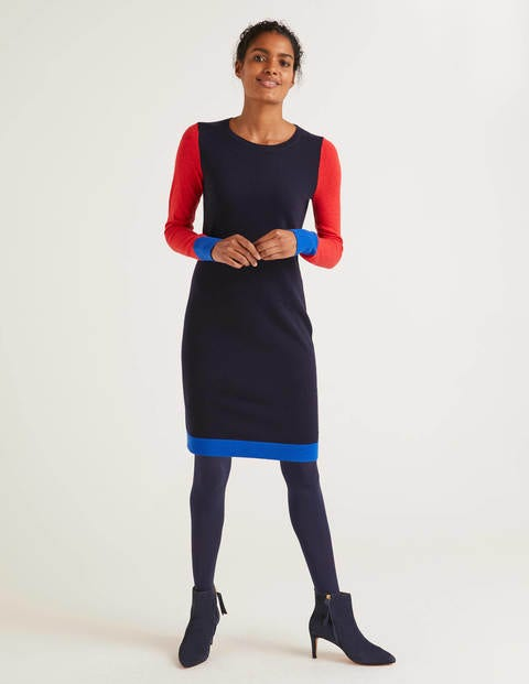 Frederica Dress - Navy Tipped
